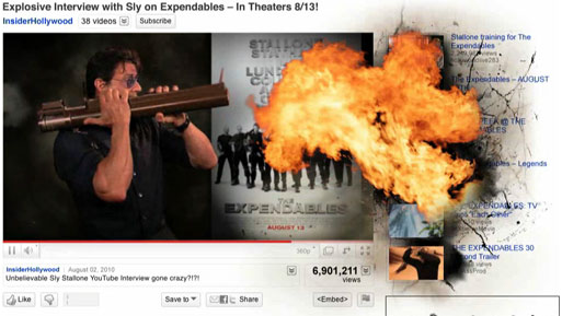 "YouTube реклама на ""The Expendables"""