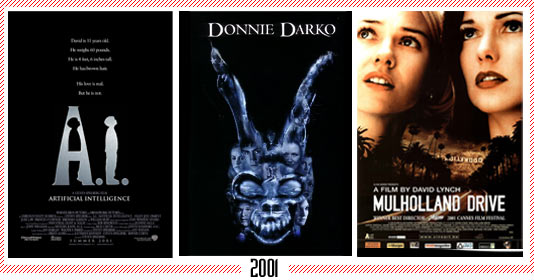 "2001 - A.I. Artificial Intelligence"" – "" Donnie Darko"" - ""Mulholland Dr."""