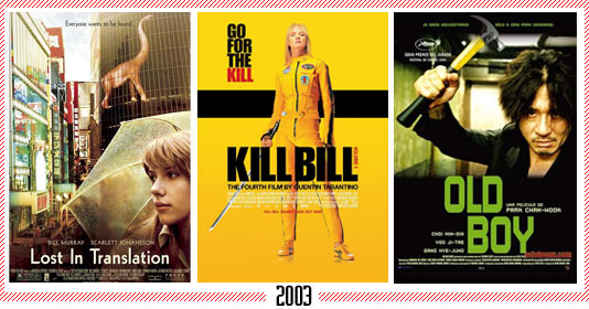 "2003 - ""Lost in Translation"" – ""Kill Bill"" – ""Oldboy"""