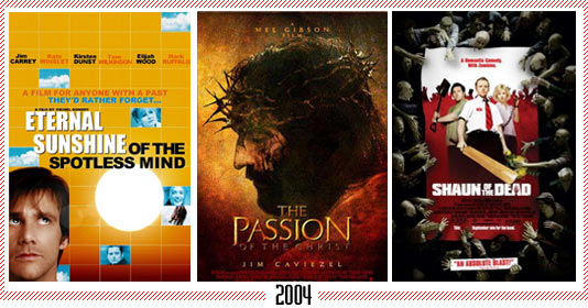 "2004 - ""Eternal Sunshine of the Spotless Mind"" - ""Passion of the Christ"" - ""Shaun of the Dead"""