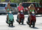 Selena, Vanessa & Ashley on the Spring Breakers Set