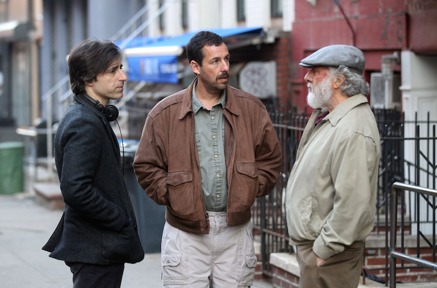 "NEW YORK, NY - MARCH 08: Noah Baumbach, Dustin Hoffman, Adam Sandler playing Father & Son filming Noah Baumbach's ""The Meyerowitz Stories""on March 8, 2016 in New York City. (Photo by Steve Sands/GC Images)"