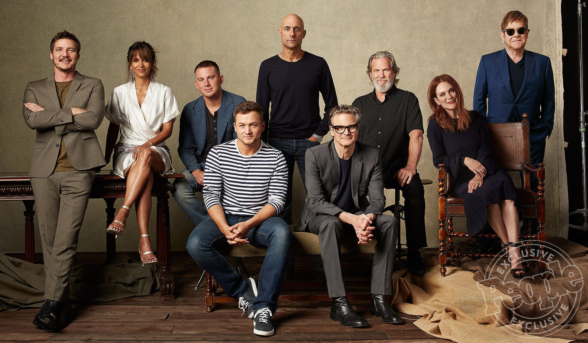 "L-r, Pedro Pascal, Halle Berry, Channing Tatum, Taron Egerton, Mark Strong, Colin Firth, Jeff Bridges, Julianne Moore and Elton John, star in Twentieth Century Fox's ""Kingsman: The Golden Circle."""