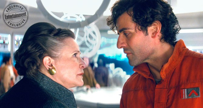 STAR WARS: THE LAST JEDI Carrie Fisher is General Leia Organa and Oscar Isaac is Poe Dameron