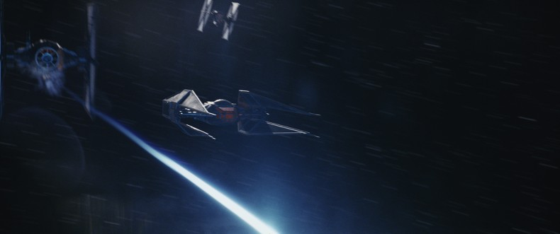 Star Wars: The Last Jedi..Kylo Ren's TIE Silencer..Photo: Industrial Light & Magic/Lucasfilm..©2017 Lucasfilm Ltd. All Rights Reserved.