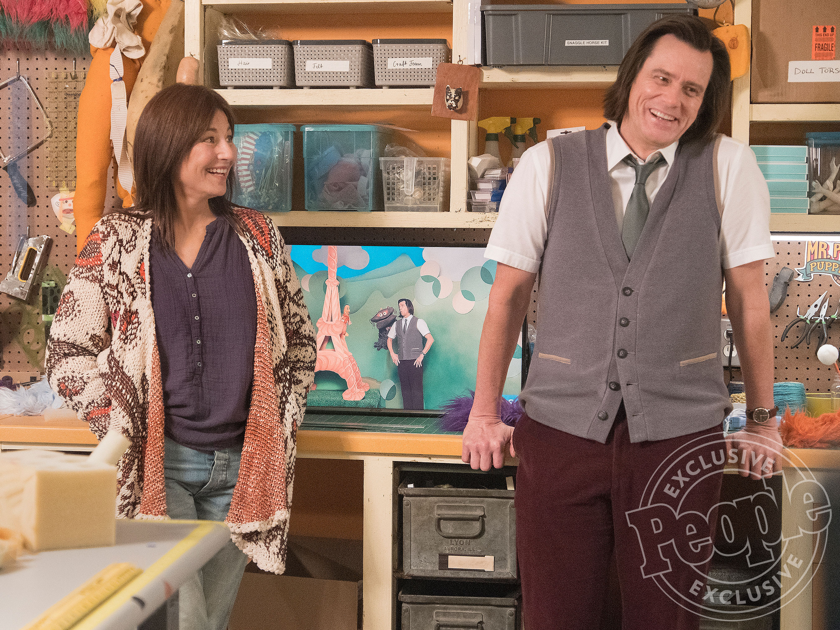 "Catherine Keener as Deirdre and Jim Carrey as Jeff AKA Mr. Pickles in KIDDING (Season 1, Episode 04, ""Bye Mom""). - Photo: Erica Parise/SHOWTIME -"