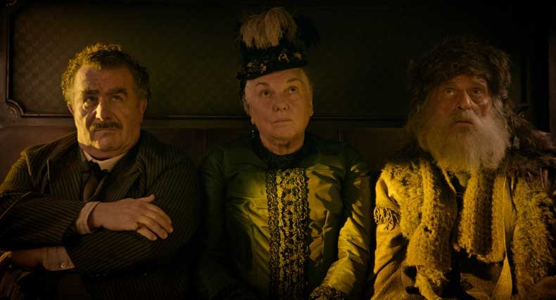 Saul Rubinek is Frenchman, Tyne Daly is Lady, and Chelcie Ross is Trapper in The Ballad of Buster Scruggs, a film by Joel and Ethan Coen.