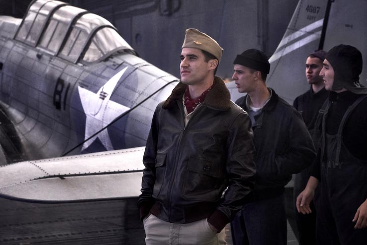 Darren Criss stars as 'Lt. Eugene Lindsey' in MIDWAY.