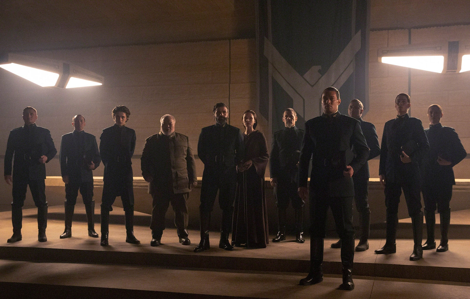 The House Atreides, Left to Right: Timothée Chalamet as Paul Atreides, Stephen Mckinley Henderson as Thufir Hawat, Oscar Isaac as Duke Leto Atreides, Rebecca Ferguson as Lady Jessica Atreides, Josh Brolin as Gurney Halleck and Jason Momoa as Duncan Idaho
