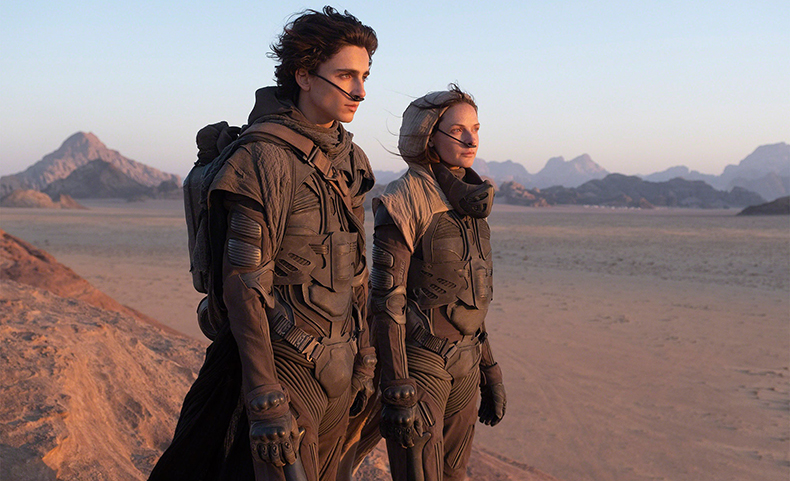 Timothée Chalamet and Rebecca Ferguson in Jordan.