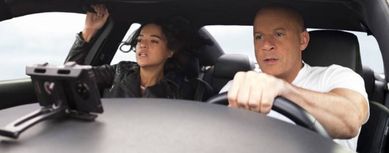 (from left) Letty (Michelle Rodriguez) and Dom (Vin Diesel) in F9, directed by Justin Lin.