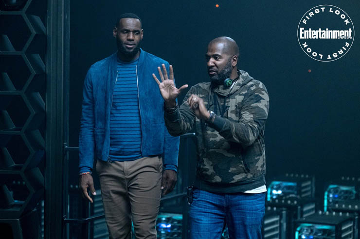 Space Jam: A New Legacy LeBron James and Director Malcolm D. Lee on set